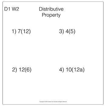 Distributive Property Morning Work Entire Year  (Back to School)