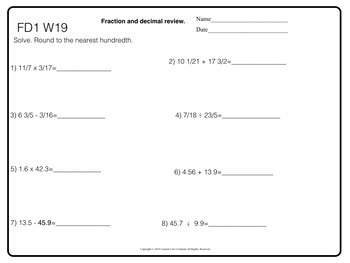 Fraction and Decimal Morning Work Entire Year (Back to School)