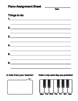 5-6 Year Old Beginner Piano Assignment Sheet