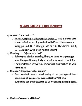 5 ACT QUICK TIPS