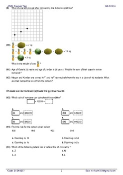 5 AMO Practice test full with detailed answer for grade 4