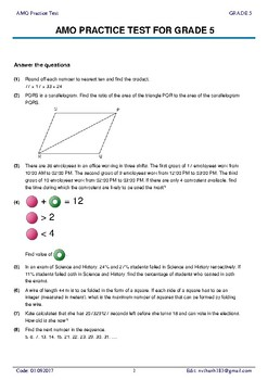 5 AMO Practice test full with detailed answer for grade 5