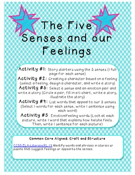 5 Activities for: Our 5 Senses and Our Feelings! Common Co