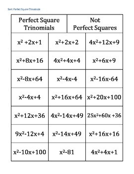 Completing the Square~Perfect Square Trinomial~Differentiation~5 Activities