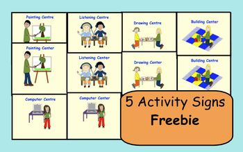 5 Activity Centre (Center) Signs FREEBIE (American/Canadian spelling included)
