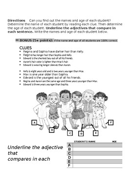 5 Worksheets on Adjectives --FREE--(comparative, superlative, article)