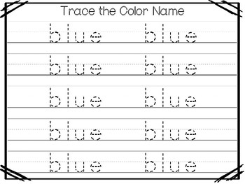 5 All About the Color Blue No Prep Tracing Preschool Worksheets and  Activities