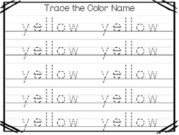 5 All About the Color Yellow No Prep Tracing Preschool Worksheets and Activities