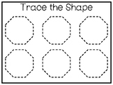 5 All About the Shape Octagon No Prep Tracing Worksheets a