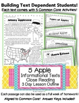 5 Apple Themed Leveled Passages for Close Reading, Homework, Assessment & More