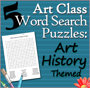 5 Art Class Word Searches: Art History Themed