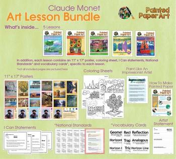 Art Lessons: Claude Monet Inspired Lessons Bundled for Grades 1-5