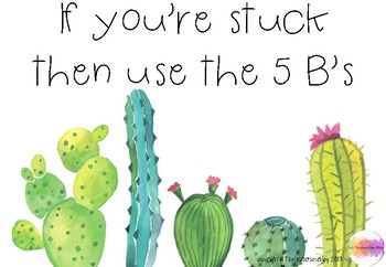 5 B's Cactus themed classroom display