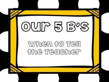 5 B's When to Tell the Teacher