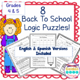 Back To School 8 Logic Puzzles for Advanced Beginners! Gr 4 & 5