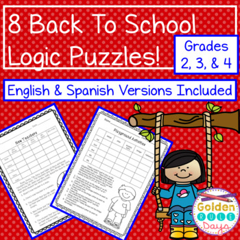 Back To School Logic Puzzles 8 Puzzles for Grades 2,3,4