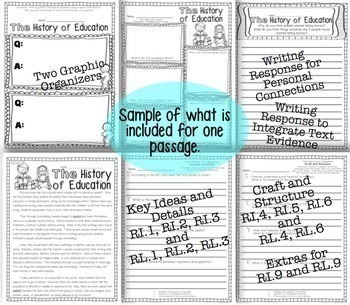 5 Back to School Themed Passages for Close Reading, Homework, Assessment & More