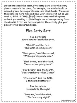 5 Batty Bats - Retell and Number Sense Fun