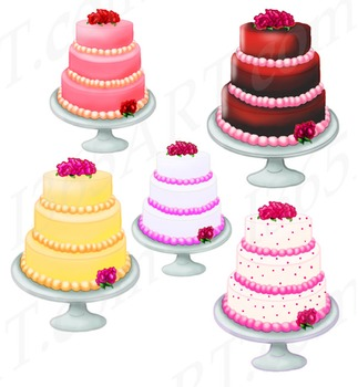 5 Beautiful Tall Party Cakes Clipart Pack Download