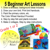 Art Lessons - 5 Beginner  - Step by step with Handouts
