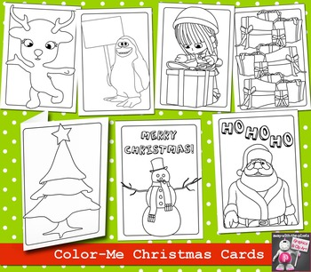 7 Black and White Christmas Cards to Print for Kids to Color - Printable Cards