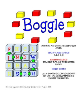 5 Boggle Boards for Short Vowel Word Work INCLUDING Answer Key