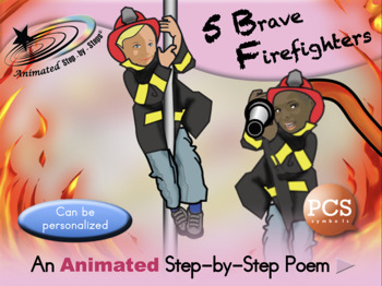 5 Brave Firefighters - Animated Step-by-Step Poem - PCS