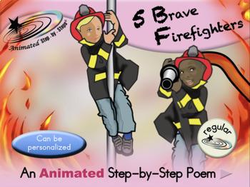5 Brave Firefighters - Animated Step-by-Step Poem - Regular