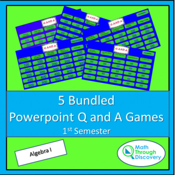 Algebra I:  5 Bundled Powerpoint Q and A Games - 1st Semester