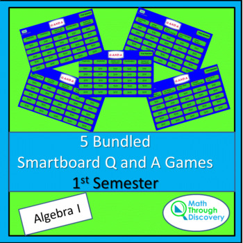 Algebra I:  5 Bundled Smartboard Q and A Games - 1st Semester