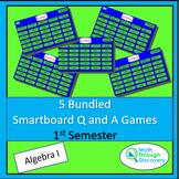 5 Bundled Algebra 1 Smartboard Q and A Games - 1st Semester