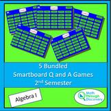 5 Bundled Algebra 1 Smartboard Q and A Games - 2nd Semester