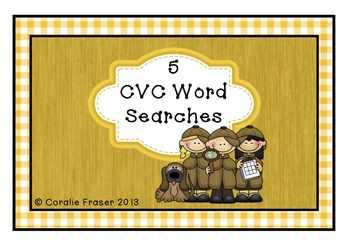 5 CVC Word Searches