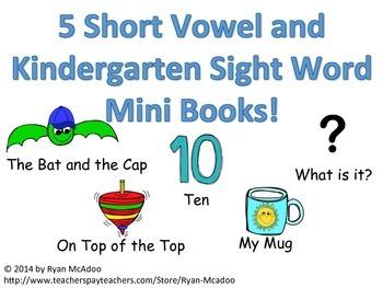 5 CVC and Kindergarten Sight Word Mini Books!