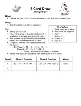 5 Card Integer Draw