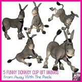 5 Cartoon Style Donkey Clip Art Images