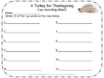 5 Centers for A Turkey for Thanksgiving Gr 2 Unit 2 Week 5 {long a}