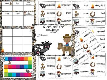 5 Centers for Cowboys Gr 2 {suffixes ness, less}