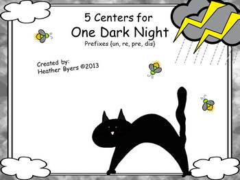 5 Centers for One Dark Night Gr 2 prefixes {un, re, pre, dis}