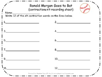 5 Centers for Ronald Morgan Goes to Bat Gr 2 Unit 2 Week 2 {contractions}