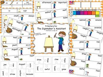5 Centers for The Signmaker's Assistant Gr 2 vowels {aw,au, augh, al}
