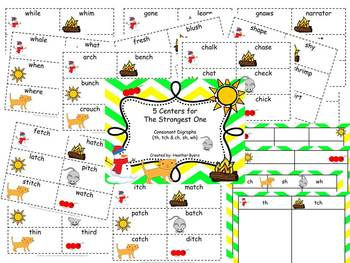 5 Centers for The Strongest One Gr 2 Unit 1 Week 5 {consonant diagraphs}