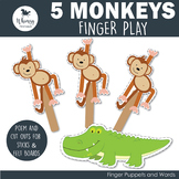 5 Cheeky Monkeys Finger Play including PDF Patterns
