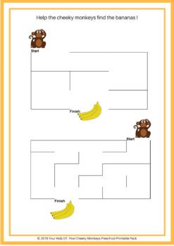 5 Cheeky Monkeys Preschool Printable Pack