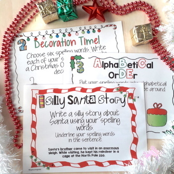 10 Christmas Spelling Activity Task Cards and Print and Go Student Worksheets