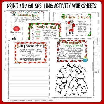 Christmas Spelling Activity Task Cards and Print and Go Student Worksheets