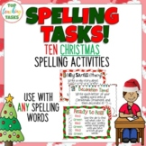 10 Christmas Spelling Activity Task Cards and Print and Go