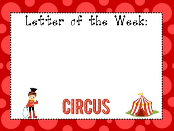 5 Circus Themed Weekly Focus Posters.