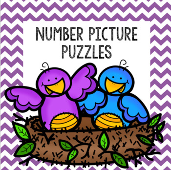 5 Color and 5 BW Picture Puzzles with Numbers 1-10