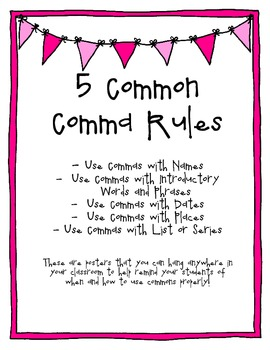 5 Common Comma Rules - Poster for Classroom